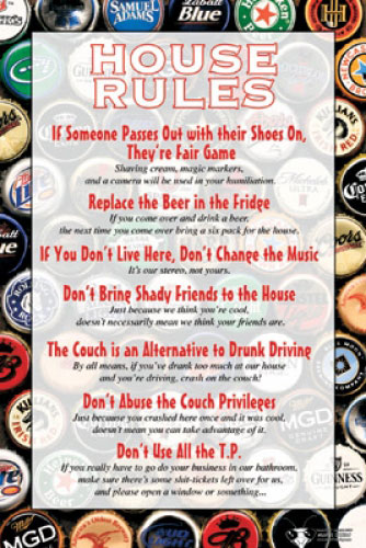 Details about HOUSE RULES - FUN POSTER (BEER DRINKING HOUSE RULES)