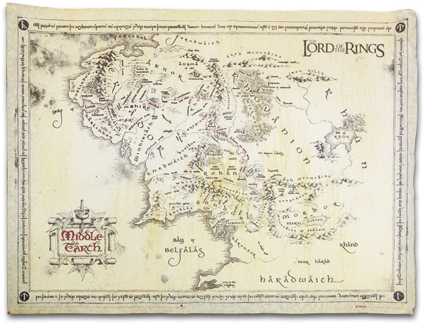 Middle Earth Map Lord of the Rings  eBay