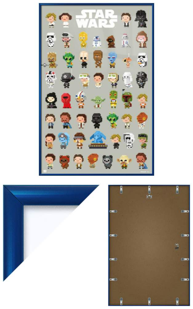 star wars framed movie poster print 8bit characters