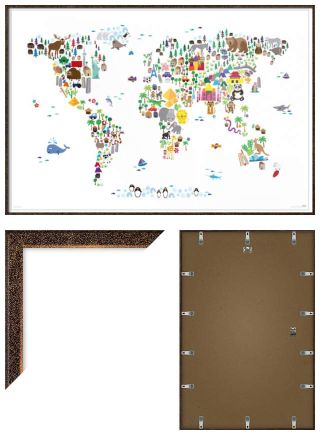 Animal map of the world framed childrens poster print michael animal map of the world framed children 039 gumiabroncs Choice Image