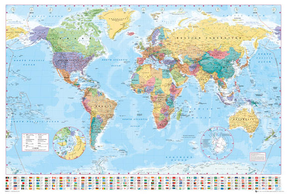 Political Map Of The World Poster Print World Map With Flags 2016